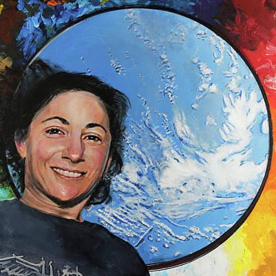 Astronauts Painting - Nicole Stott by Simon Kregar