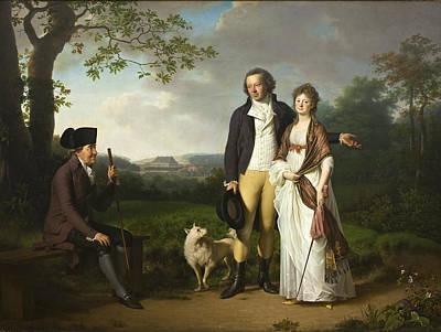 Jens Juel Painting - Niels Ryberg With His Son Johan Christian And His Daughter-in-law Engelke Nee Falbe by Jens Juel
