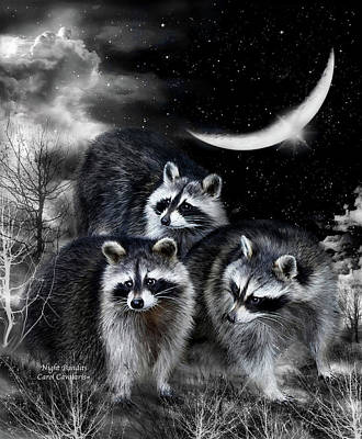 Raccoon Mixed Media - Night Bandits by Carol Cavalaris