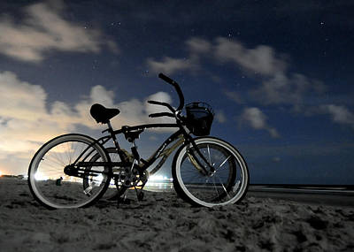 Beach Photograph - Night Bikes by Don Mennig