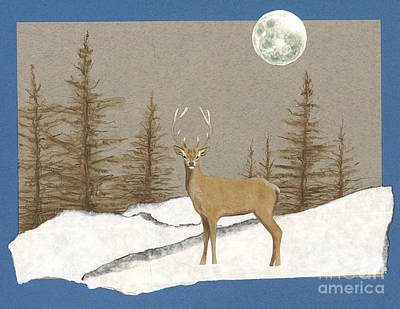Snowy Trees Painting - Night Encounter by Ele Grafton
