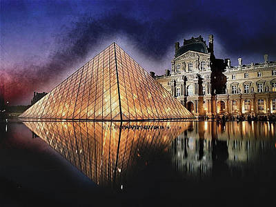 Louvre Painting - Night Glow Of The Louvre Museum In Paris by Elaine Plesser