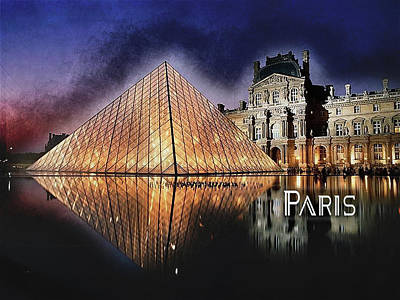 Louvre Painting - Night Glow Of The Louvre Museum In Paris Text Paris by Elaine Plesser