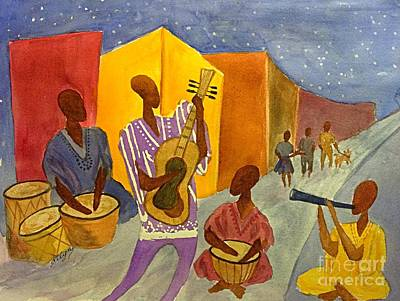 Interior Scene Painting - Night Jammin In The Street Abstract by Ellen Levinson