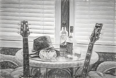 Digital Photograph - Night Life - Guitars - Music by Barry Jones