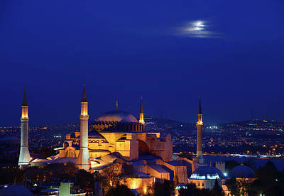 Turkey Photograph - Night Lights On Hagia Sophia Under A Full Moon At Twilight In Is by Reimar Gaertner