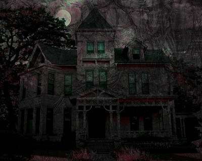 Haunted Mansion Digital Art - Night by Mimulux patricia no
