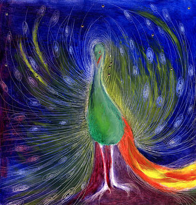 Peacock Painting - Night Of Light by Nancy Moniz