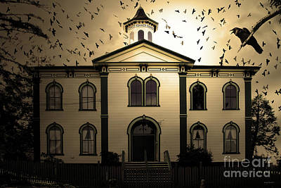 Old School Houses Photograph - Night Of The Birds . Sepia . 7d12487 by Wingsdomain Art and Photography