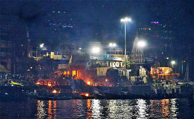 Cremation Ghat Photograph - Night On Fire by John And Laurel Rodgers