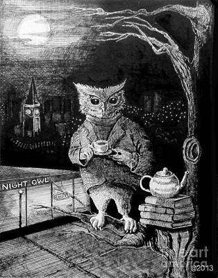 Night Owl Print by Cynthia Aiken