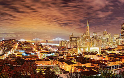 Night Panorama Of San Francisco And Oak Area Bridge From Ina Coolbrith Park - California Print by Silvio Ligutti