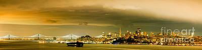 Night Panorama Of San Francisco Skyline With Oakland Bay Bridge - San Francisco California Print by Silvio Ligutti
