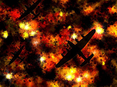 Airplane Digital Art - Night Raid - Lancaster Bomber by Michael Tompsett