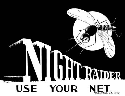 Wwii Propaganda Painting - Night Raider Ww2 Malaria Poster by War Is Hell Store