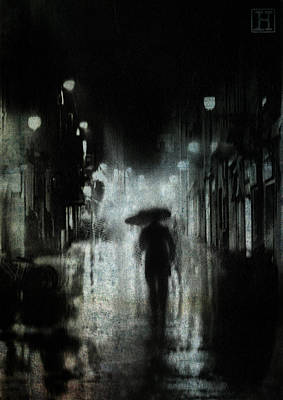 Umbrellas Digital Art - Night Rain by H James Hoff