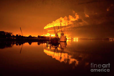 A Summer Evening Landscape Photograph - Night Reflections Of A Paper Mill by Felix Lai