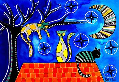 Cat And Moon Painting - Night Shift - Cat Art By Dora Hathazi Mendes by Dora Hathazi Mendes