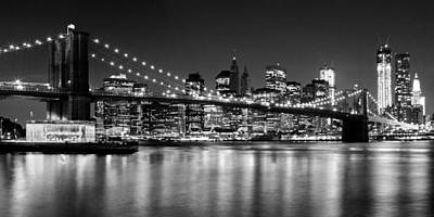 Sightseeing Photograph - Night Skyline Manhattan Brooklyn Bridge Bw by Melanie Viola