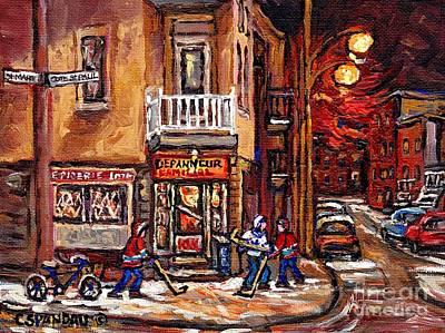 Depanneur Painting - Night Street Hockey Game Painting Depanneur Familiale Ville Emard Cote St Paul Scenes Canadian Art  by Carole Spandau