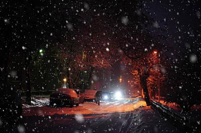 Night Street. Snowy Days In Moscow Print by Jenny Rainbow