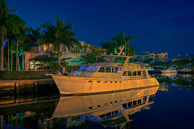 Night Time In Fort Lauderdale Print by James O Thompson
