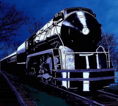 Vehicle Digital Art - Night Train Card by Lesa Fine