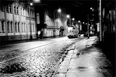 Night Tram In Prague. Black N White Print by Jenny Rainbow