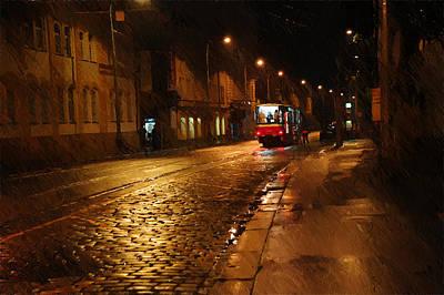 Night Tram In Prague Print by Jenny Rainbow