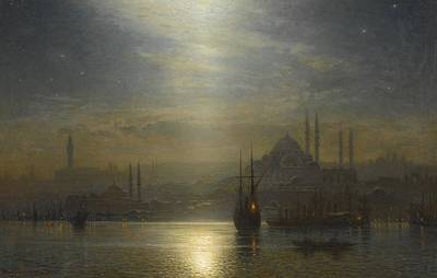 Bosphorus Painting - Night View Over The Bosphorus by MotionAge Designs