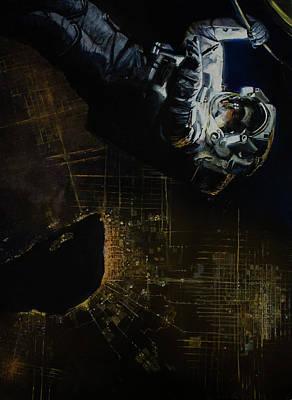 Astronauts Painting - Night Walk 2 by Simon Kregar