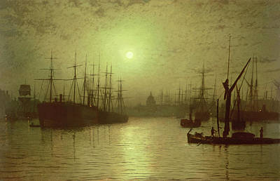 Grimshaw Painting - Nightfall Down The Thames by John Atkinson Grimshaw