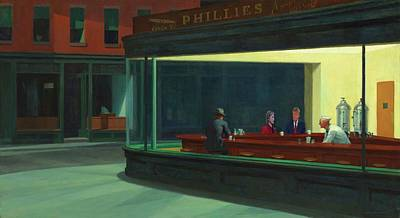 Hillary Digital Art - Nighthawks Hillary And Donald by Movie Poster Prints