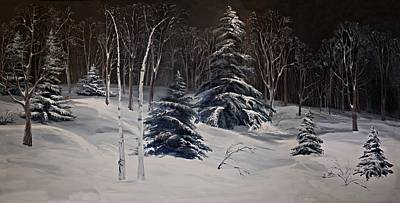 Night Time Snowy Woods Original by Joy Nichols
