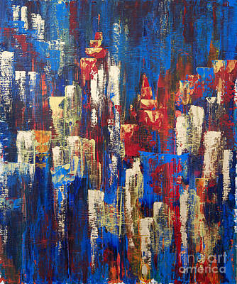 Pallet Knife Painting - Nightlife Cleveland by JoAnn DePolo