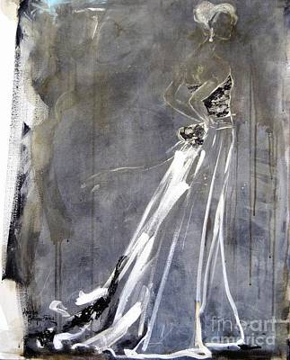 Evening Gown Mixed Media - Nights In White Satin by Andrea Stajan-Ferkul