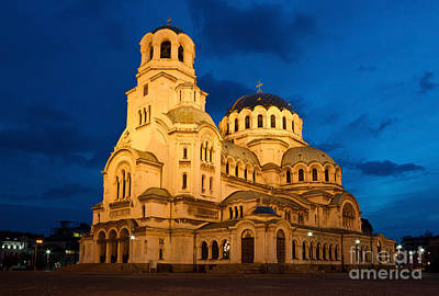 Sofia Photograph - Nightshot Of Cathedral Alexandar Nevsky In Sofia  by Kiril Stanchev