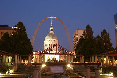 Nighttime At The Arch Print by Marty Koch