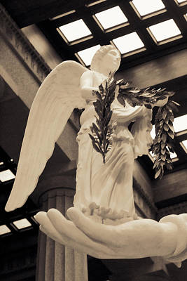 Winged Victory Photograph - Nike Goddess Of Victory Sepia by Linda Phelps
