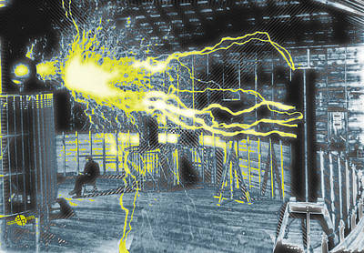 Nikola Tesla Sitting In His Experimental Station Reimagined 2 Print by Tony Rubino