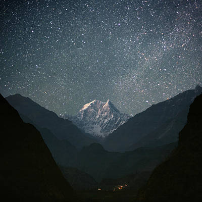 Night Photograph - Nilgiri South (6839 M) by Anton Jankovoy
