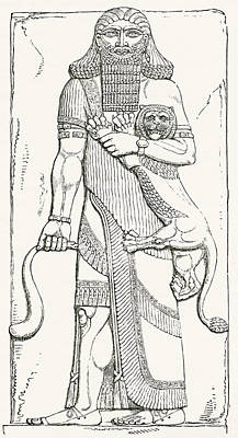 Ancient Civilization Drawing - Nimrod, King Of Shinar, From The Palace by Vintage Design Pics