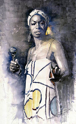 Watercolor Painting - Nina Simone by Yuriy  Shevchuk