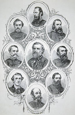 The General Lee Drawing - Nine Portraits Of Prominent Generals Of Confederate Army by American School