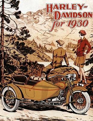 Nineteen Thirties Harley Davidson Print by Pd