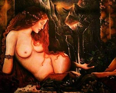 Fertility Painting - Ninhursag  by Dalgis Edelson