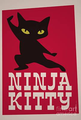 Crisis Mixed Media - Ninja Kitty Retro Poster by Monkey Crisis On Mars