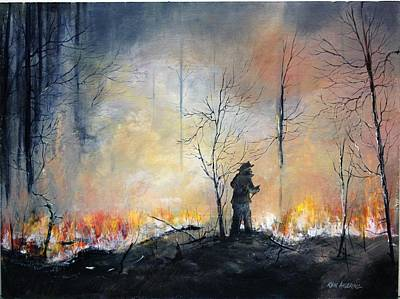 Painting - Nj Forrest Fire by Ken Ahlering