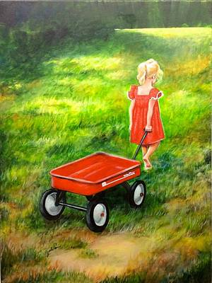 Radio Flyer Wagon Painting - No Baggage by Judi Cain