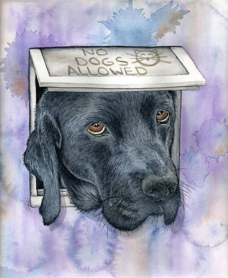 Black Lab Watercolor Painting - No Dogs Allowed by Julie Senf